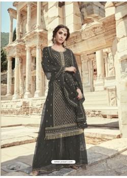 Black Faux Georgette Designer Party Wear Palazzo Salwar Suit