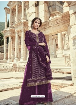 Purple Faux Georgette Designer Party Wear Palazzo Salwar Suit