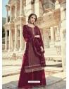 Maroon Faux Georgette Designer Party Wear Palazzo Salwar Suit
