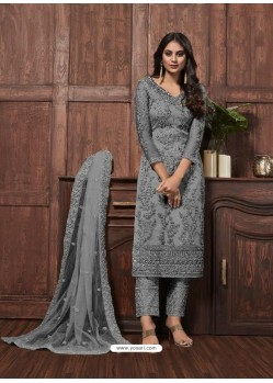 Grey Butterfly Net Designer Party Wear Straight Salwar Suit