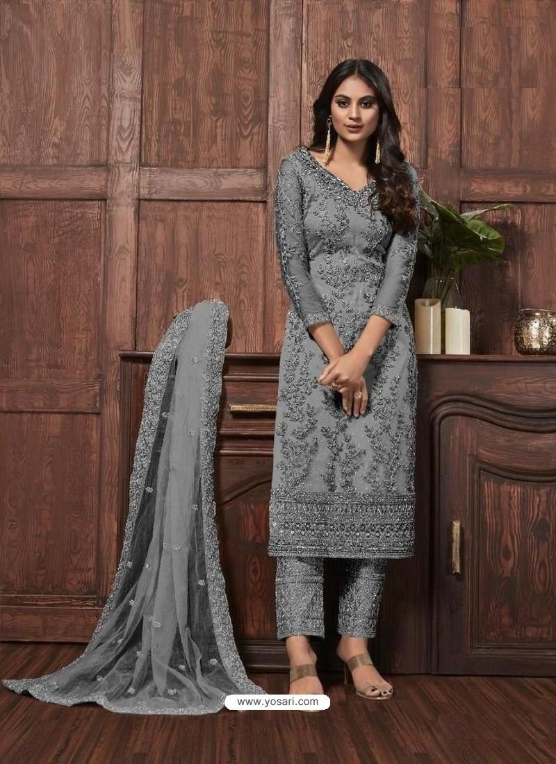 Grey Butterfly Net Designer Party Wear Straight Salwar Suit