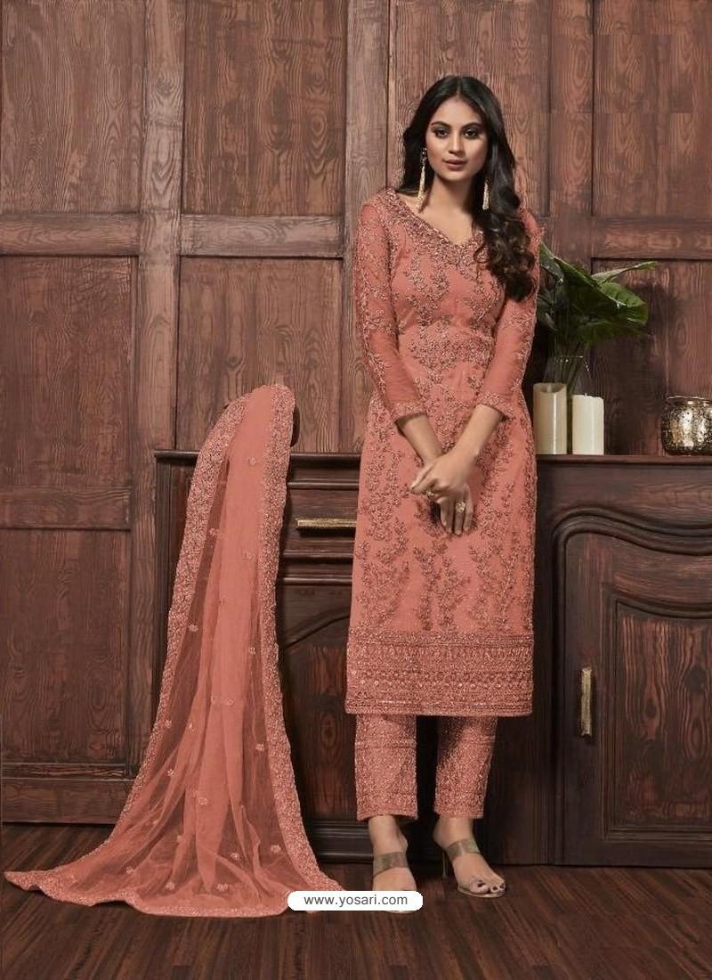 Light Orange Butterfly Net Designer Party Wear Straight Salwar Suit