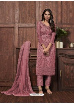 Light Pink Butterfly Net Designer Party Wear Straight Salwar Suit