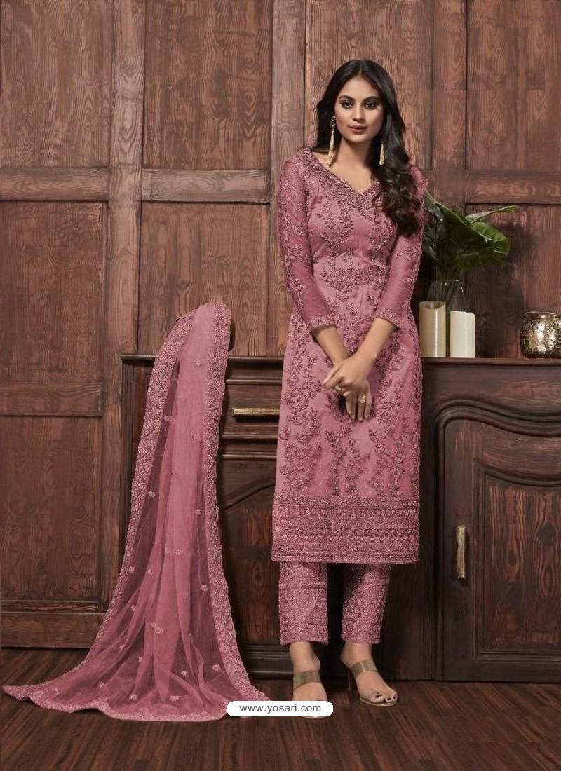 Light Pink Butterfly Net Designer Party Wear Straight Salwar Suit