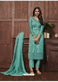 Aqua Mint Butterfly Net Designer Party Wear Straight Salwar Suit