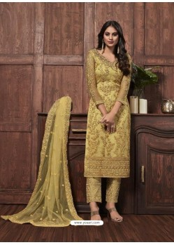 Light Yellow Butterfly Net Designer Party Wear Straight Salwar Suit