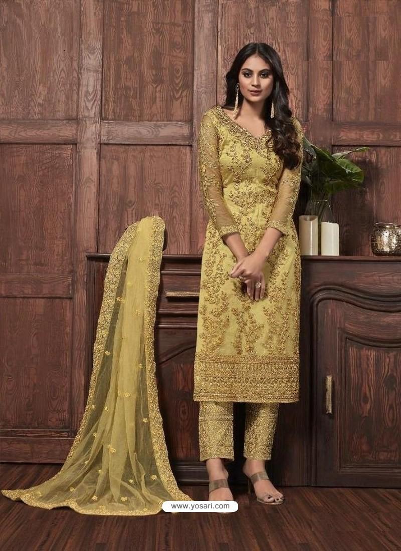Light Yellow Butterfly Net Designer Party Wear Straight Salwar Suit