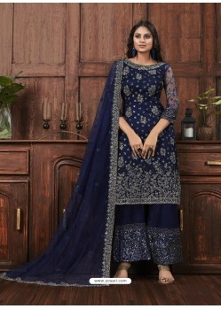 Navy Blue Butterfly Net Designer Party Wear Palazzo Salwar Suit