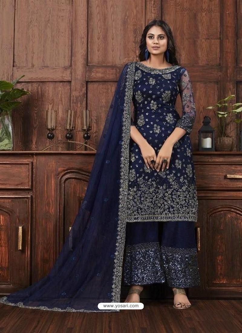 Navy Blue Butterfly Net Designer Party Wear Palazzo Salwar Suit