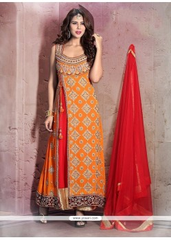 Voguish Cutdana Work Orange Anarkali Salwar Kameez