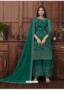 Teal Butterfly Net Designer Party Wear Palazzo Salwar Suit