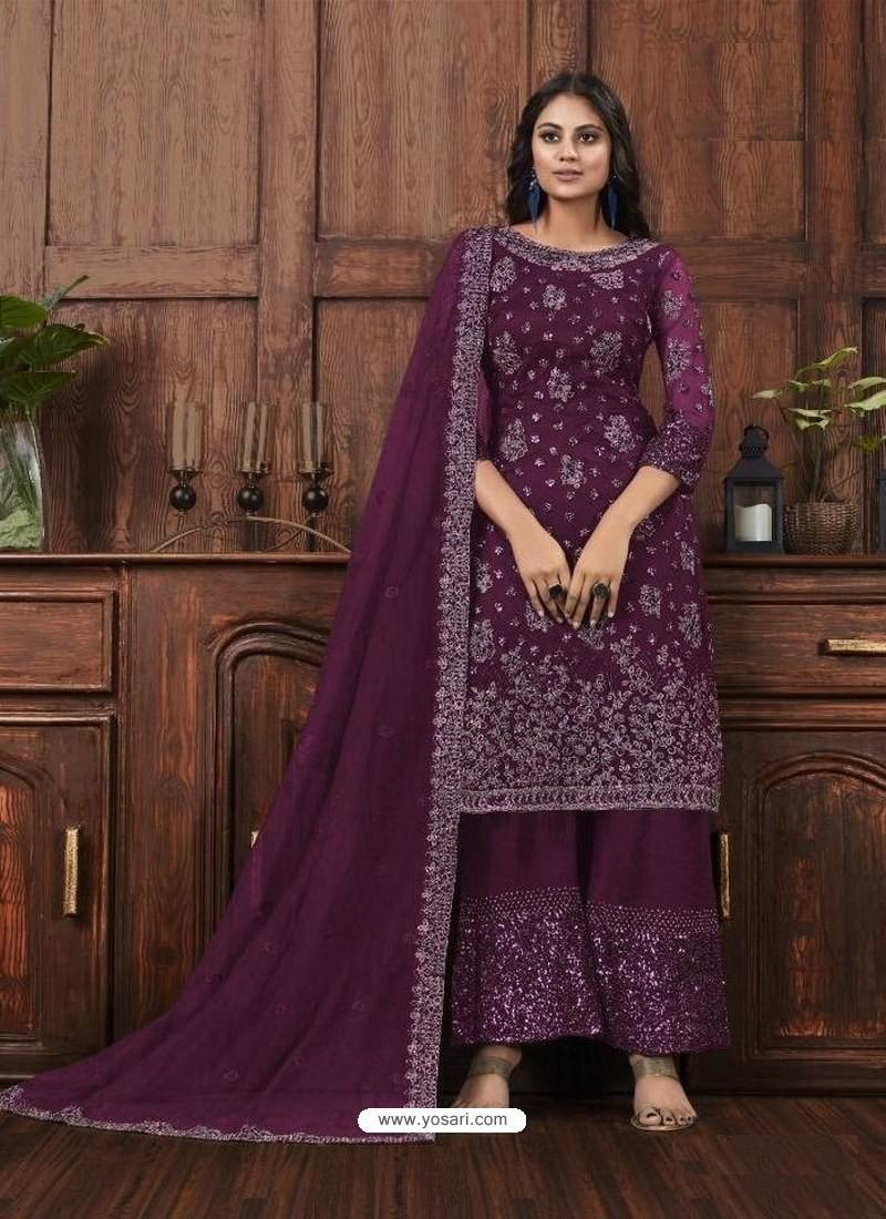 Purple Butterfly Net Designer Party Wear Palazzo Salwar Suit