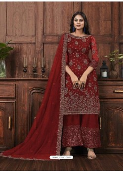 Maroon Butterfly Net Designer Party Wear Palazzo Salwar Suit