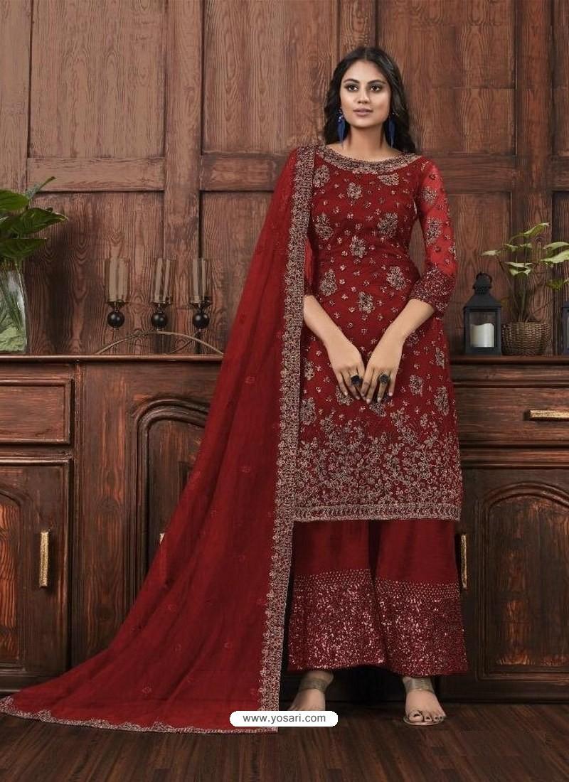 Maroon Butterfly Net Designer Party Wear Palazzo Salwar Suit