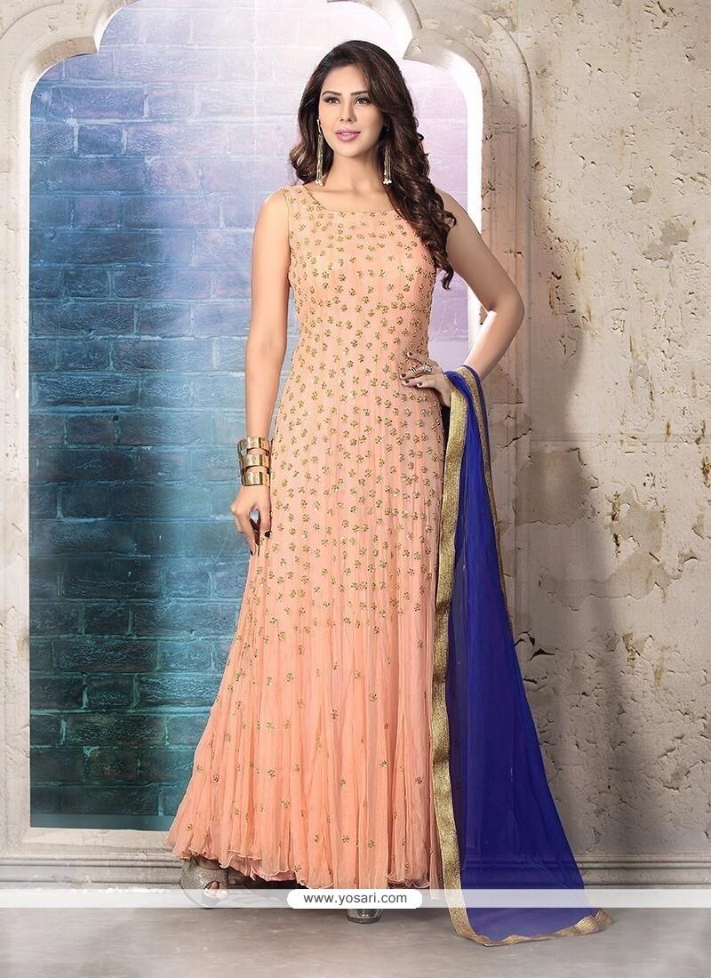 Heavenly Embroidered Work Net Anarkali Suit