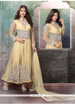 Picturesque Viscose Cream Anarkali Salwar Suit