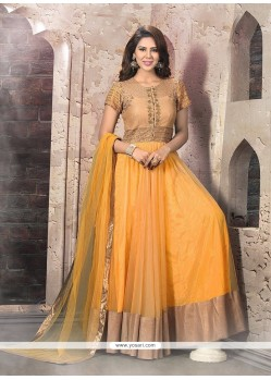 Paramount Yellow Patch Border Work Anarkali Salwar Suit