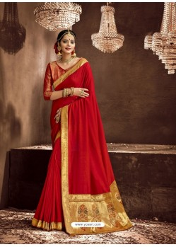 Red Designer Classic Wear Chanderi Silk Sari