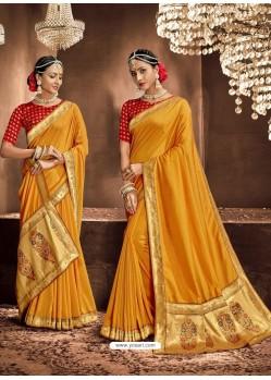 Yellow Designer Classic Wear Chanderi Silk Sari