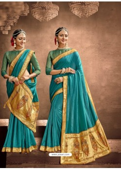 Blue Designer Classic Wear Chanderi Silk Sari