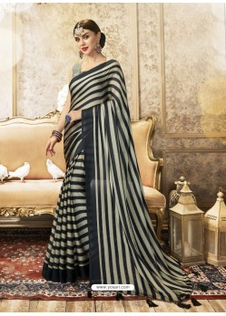 Black Designer Party Wear China Chiffon Sari