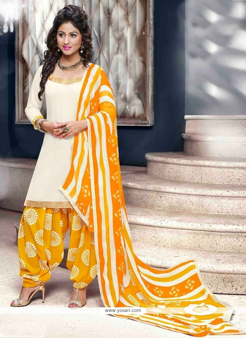 Gilded White Patiala Suit