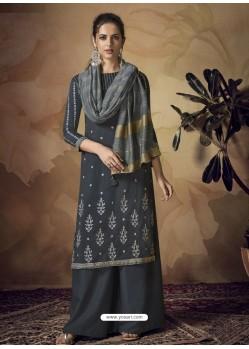 Dark Grey Muslin Silk Designer Party Wear Palazzo Salwar Suit