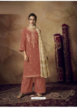 Rust Muslin Silk Designer Party Wear Palazzo Salwar Suit