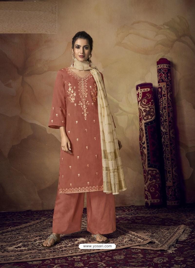 Rust Muslin Silk Designer Party Wear Palazzo Salwar Suit