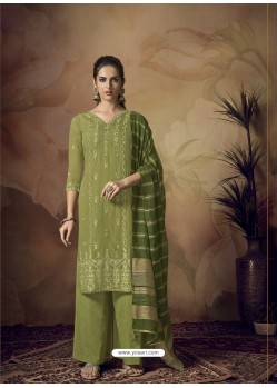 Green Muslin Silk Designer Party Wear Palazzo Salwar Suit