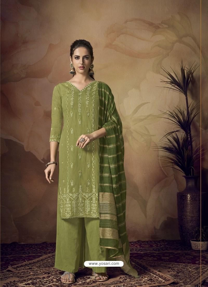 Green Muslin Silk Designer Party Wear Palazzo Salwar Suit