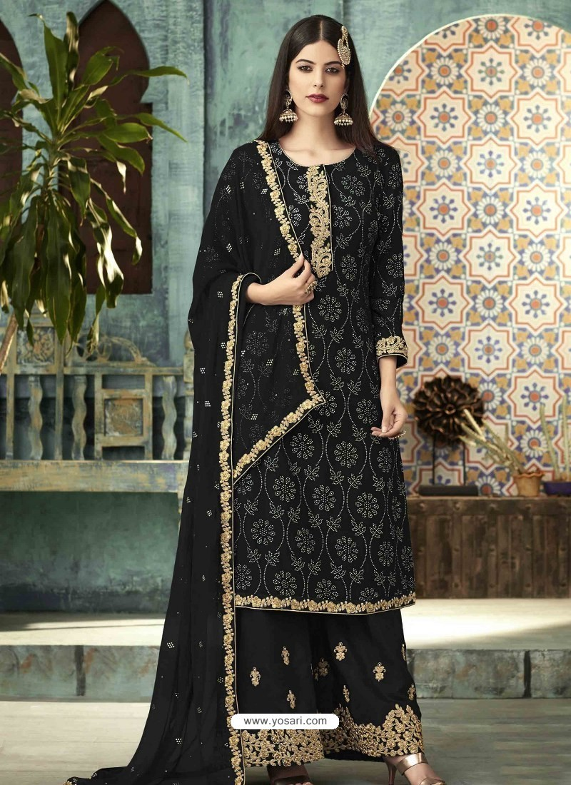 Black Georgette Designer Party Wear Palazzo Salwar Suit
