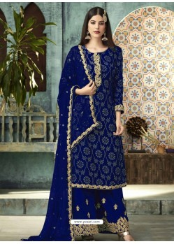 Royal Blue Georgette Designer Party Wear Palazzo Salwar Suit