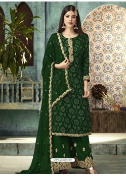 Forest Green Georgette Designer Party Wear Palazzo Salwar Suit