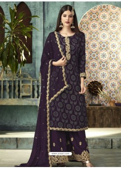 Purple Georgette Designer Party Wear Palazzo Salwar Suit