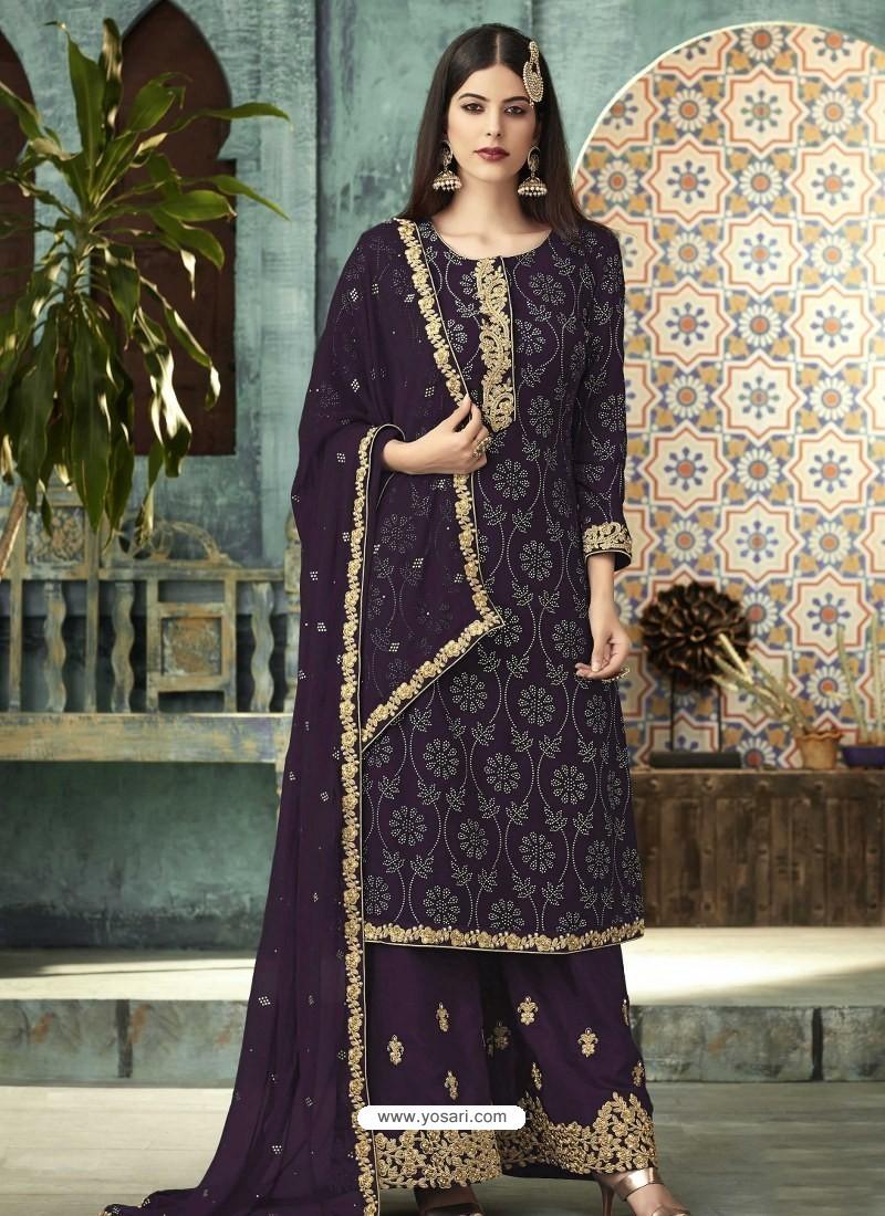 Purple Georgette Designer Party Wear Palazzo Salwar Suit