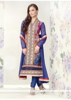 Natural Blue Brasso Georgette Churidar Salwar Kameez