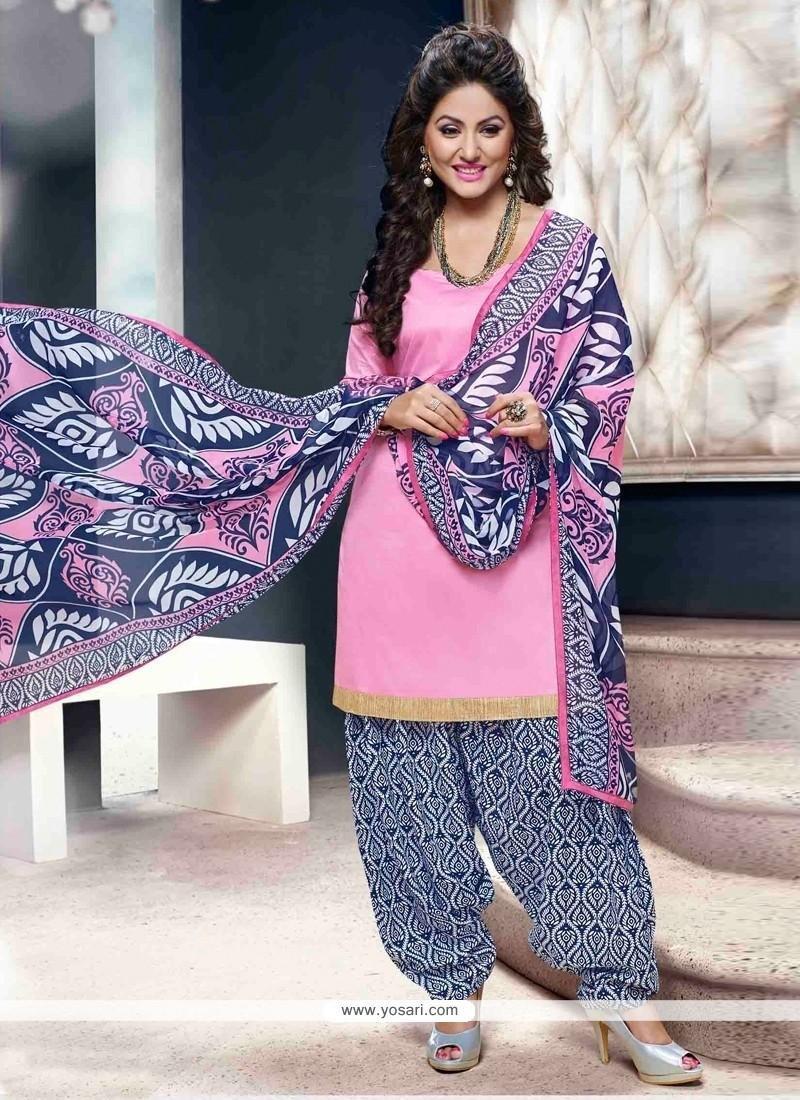 Sunshine Pink Lace Work Designer Patiala Suit