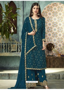 Teal Blue Georgette Designer Party Wear Palazzo Salwar Suit