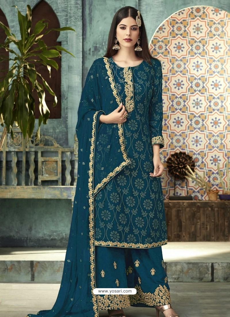 Teal Blue Georgette Designer Party Wear Palazzo Salwar Suit