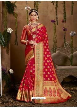 Red Designer Party Wear Jacquard Silk Sari