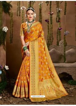 Yellow Designer Party Wear Jacquard Silk Sari
