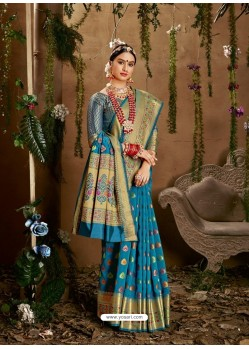 Blue Designer Party Wear Jacquard Silk Sari