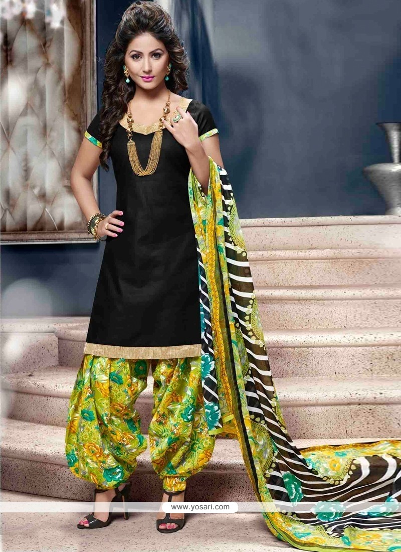 Phenomenal Cotton Black Lace Work Designer Patiala Suit