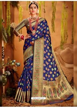 Royal Blue Designer Party Wear Jacquard Silk Sari