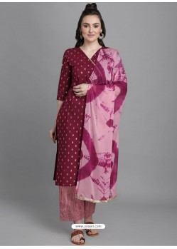 Wine Designer Readymade Party Wear Kurti Palazzo With Dupatta