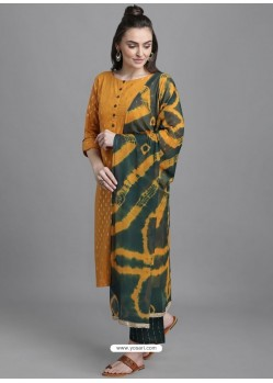Mustard Designer Readymade Party Wear Kurti Palazzo With Dupatta