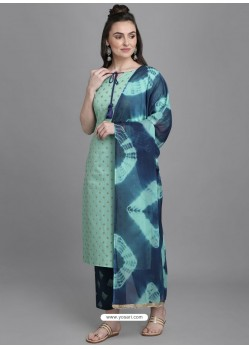 Aqua Mint Designer Readymade Party Wear Kurti Palazzo With Dupatta