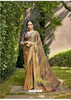 Multi Colour Designer Party Wear Chiffon Sari