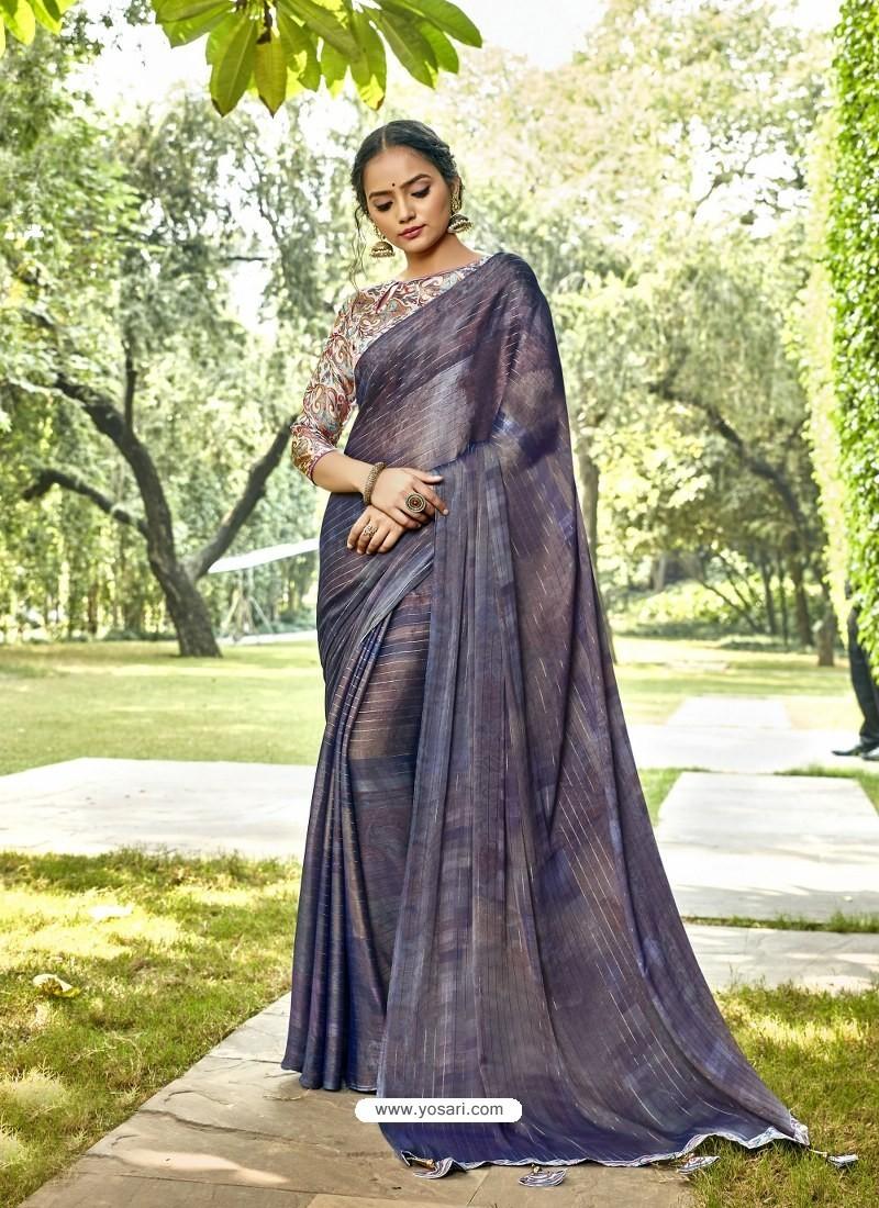 Pigeon Designer Party Wear Chiffon Sari